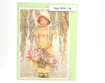 Green Mothers Day Card - Vintage Mothers Day Card - Happy Mother's Day Card - Garden Card