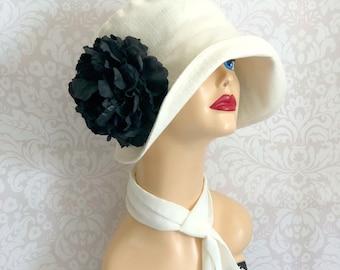 Linen Cloche Hat - Jazz Age Hat - Lawn Party Hat - Summer Sun Hat - 1920s Cloche Hat - Cream Linen Hats - Big Black Flower - Handmade in USA