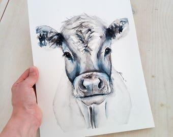 White Cow, original watercolor, watercolour paintings, farmhouse decor, cow painting, farm art, original cow, original wall art
