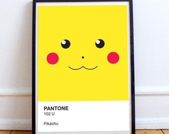 Nintendo Pokemon Pikachu Pantone Swatch Poster
