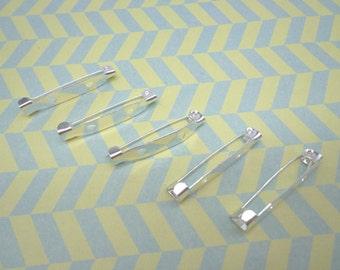 200PCS--30x5mm--Silver  metal bar pin back brooch
