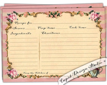 Bridal shower recipe cards - gifts for the future bride - vintage royal Elegant recipe card-Pink & gold Recipe cards.