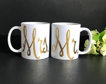 Mr. & Mrs. Coffee Mugs (2 Mugs)....Personalized, Wedding gift, Bridal Shower gift, Engagement Gift, Couples Gift, Custom Mug, His Hers