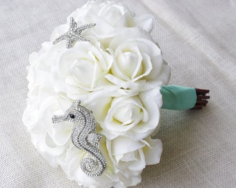 Beach Glam Seahorse Starfish Brooch Wedding Bouquet - Silk White Roses & Jewel Bride Bouquet - Natural Touch Roses