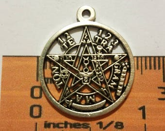 Tetragrammaton etsy 6 pcs tetragrammaton pentagram charm pendant 23mm antique silver lead free pewter slr0362 aloadofball Images