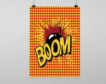 Pop Art Comic Boom typography - Vintage Reproduction Wall Art Decro Decor Poster Print Any size