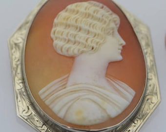 Vintage 10K White Gold Large Cameo Brooch, Circa 1930