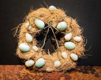 Handmade Fiber Wreath with Wooden Bird's Eggs