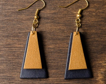 """Leather Earrings - gold and black trapezoids (1 1/4"""" x 3/4"""") gift for her, lightweight earrings, geometric, mothers day"""