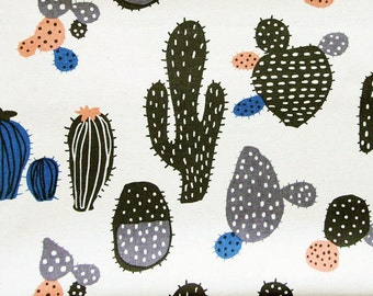 Cactus Print Fabric By The Yard - Cotton Linen Blend - Desert Plants on Natural - Half Yard