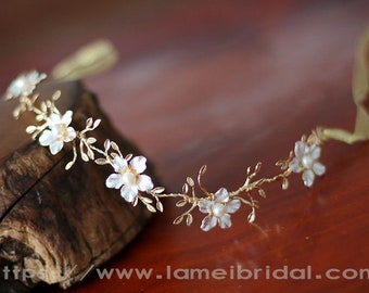 Flower girl hair vine, Forest Princess Flower wedding Headband,Floral Bridal Circlet Small Wild Flower Wedding Crown ,Flower girl  Headpiece