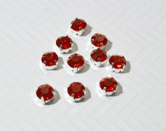 8mm Sew On Red Rhinestones.  Red Glass Buttons. Red Crystals. 10 Pieces.