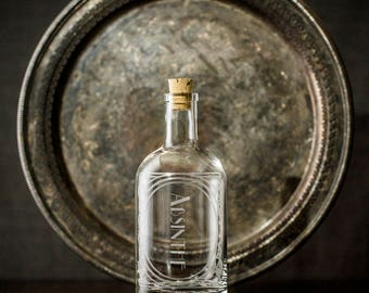 Absinthe - The Constance Single bottle-Etched Glass Spirit Decanters-Gift for any home bar/bar cart enthusiast in your life. Art Deco Style