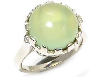 Natural Prehnite Round Gemstone Ring 925 Sterling Silver R1106
