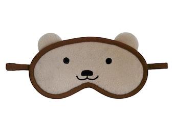 Teddy Bear Sleep Mask, Animal sleeping eye mask, Kawaii bear, Beige and brown sleepmask, Cotton or silk, Animal face cosplay costume eyemask