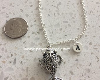KIDS Size - Koi fish initial necklace, fish jewelry, goldfish necklace, koi necklace, Asian fish jewelry, silver koi fish necklace