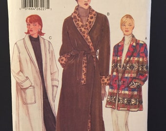Vogue pattern 9732 Shawl collar wrap coat with long sleeves with cuff