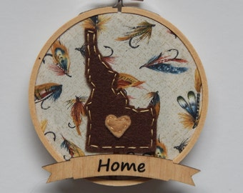 Custom State Embroidery Hoop Ornament on Fly Fishing Fabric