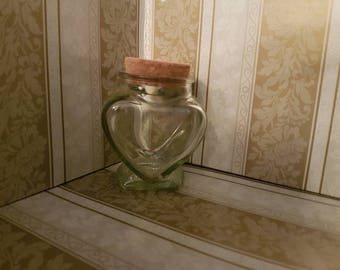 Small Heart Glass Jar with Cork Lid
