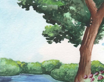 Tree besides the River   4x6 Original Watercolor