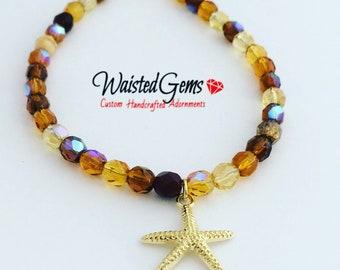 Czech Crystal Starfish Anklet, Summer Jewelry, Gift for her, Anklet, Charmed Anklet, Brown Bracelet, Crystal Anklet