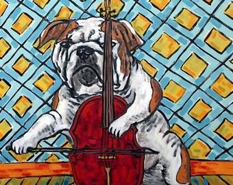 25% off bulldog art - bulldog art PRINT on tile - dog, dog art, dog tile, bulldog coaster, gift, cello cello art