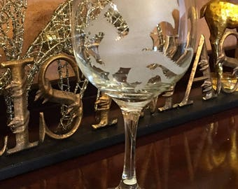Hand Etched single glass wine goblet