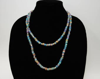 Vintage Multi Color Long Strand Puka Shell Necklace