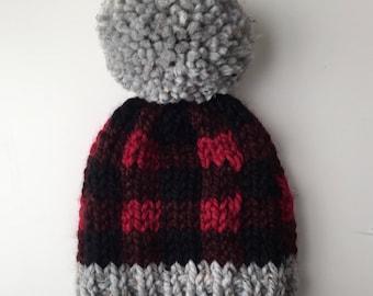 Buffalo Plaid Knit Winter Beanie | Fair Isle Knit Beanie with Pom Pom  | Hand Knit Winter Beanie with Pom Pom