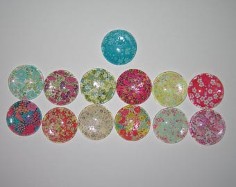 Set of 13 cabochons 25 mm round domed with images of multicolored flowers liberty