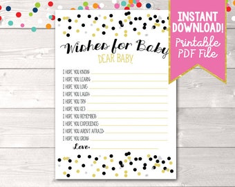 Instant Download Printable Baby Wishes Card with Black & Gold Polka Dot Confetti