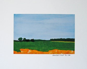 small art print : Grandpas Land - limited edition fine art print, 8.5 x 11, midwest landscape, farm, wisconsin, landscape, field, big sky