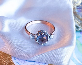 Alexandrite Diamond ring, Alexandrite & Real Brilliant Cut Diamond ring, Alexandrite Engagement ring, 9ct, 14ct, 18ct solid Gold ring.