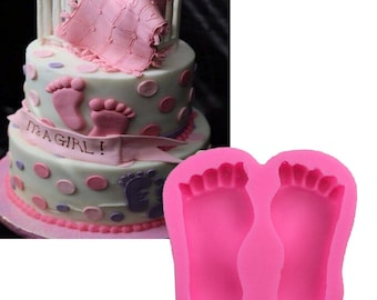 Footprint Silicone Mold - Baby Boy Girl Feet Mould Baby Shower Cake Cupcakes Babies Chocolate Candy Soap Gift Mould Gender Reveal Beach -