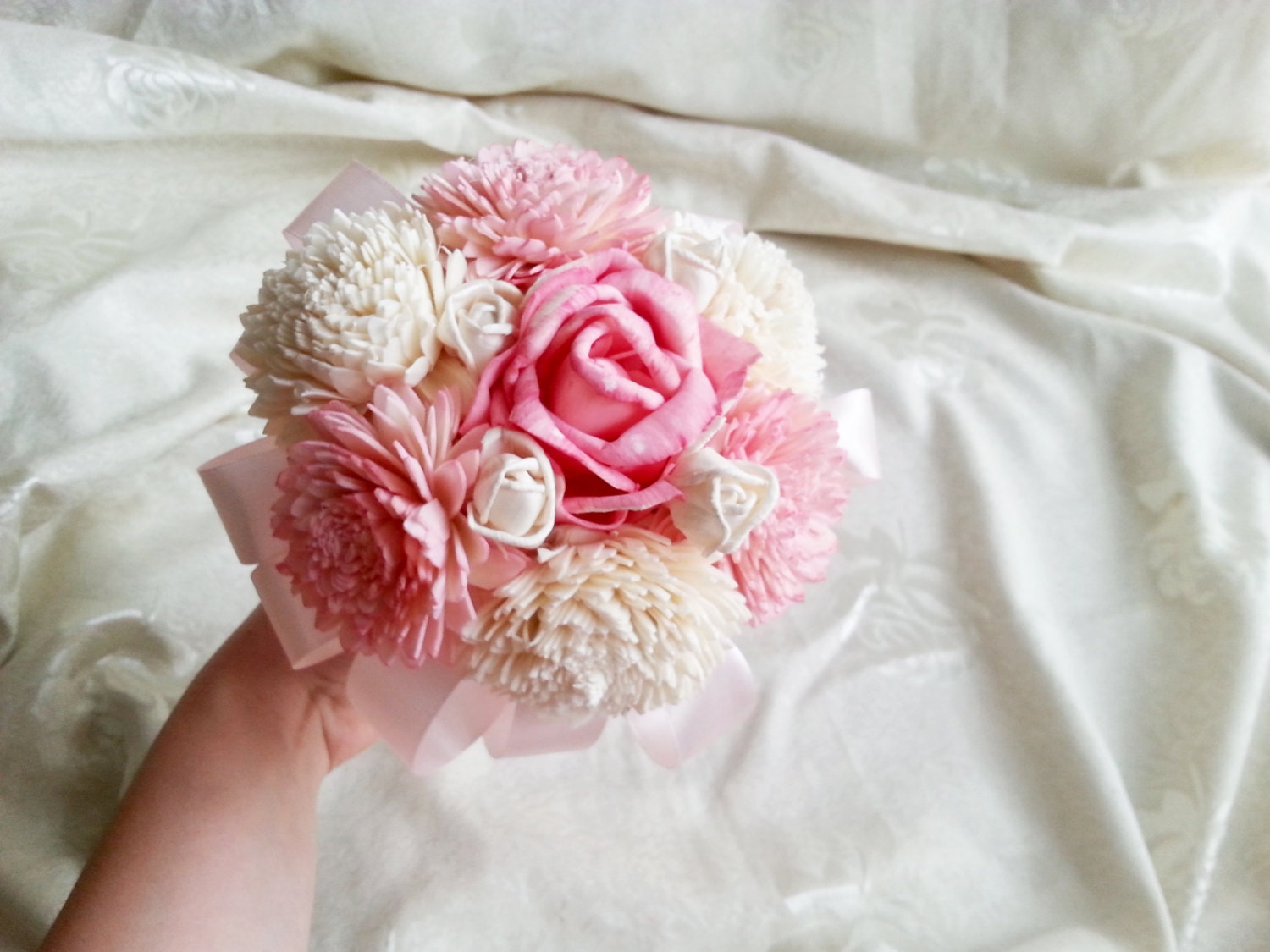 Small sola flowers pink bouquet wedding bridesmaid flower girl wand ...