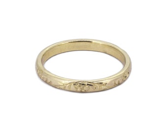 The Forget Me Not Wedding Ring - Hand Engraved Gold Ring
