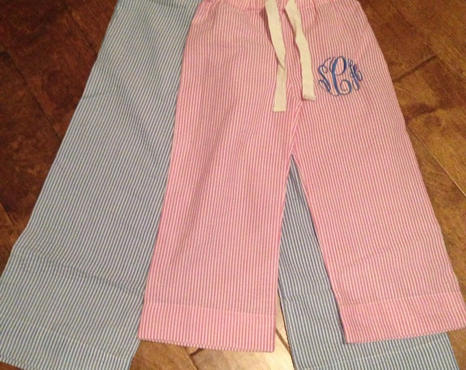 Monogrammed Seersucker Lounge Pants