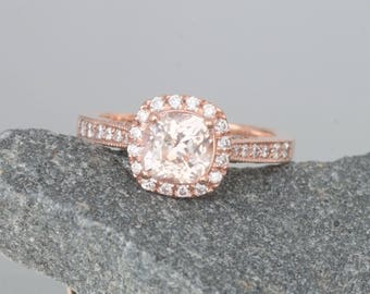 Cushion Peach Sapphire Rose Gold Engagement Ring with 1.39cts Sapphire