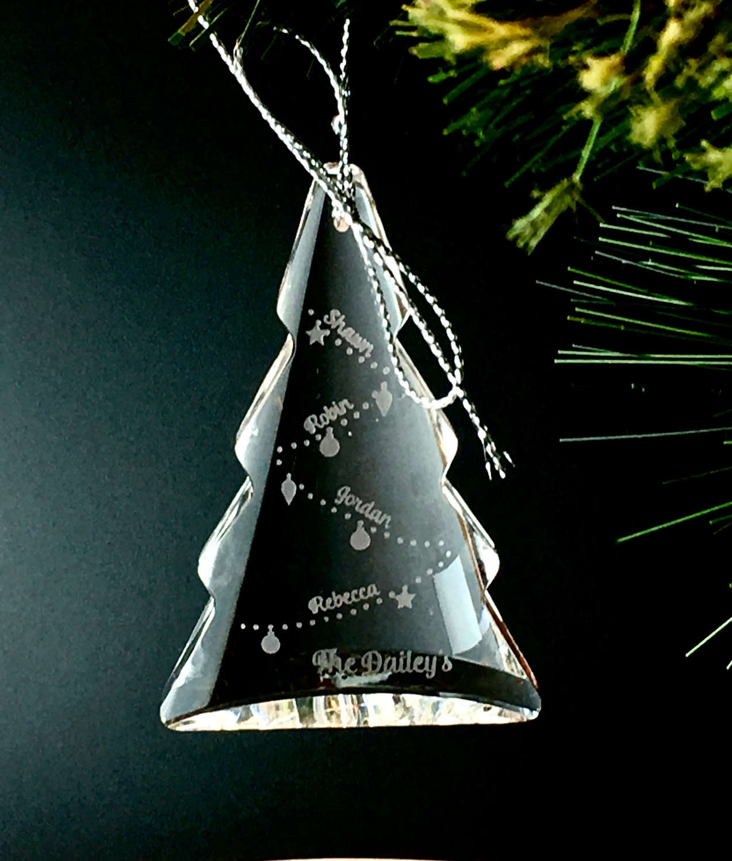 Custom Crystal Tree Ornament Personalized Christmas Ornament