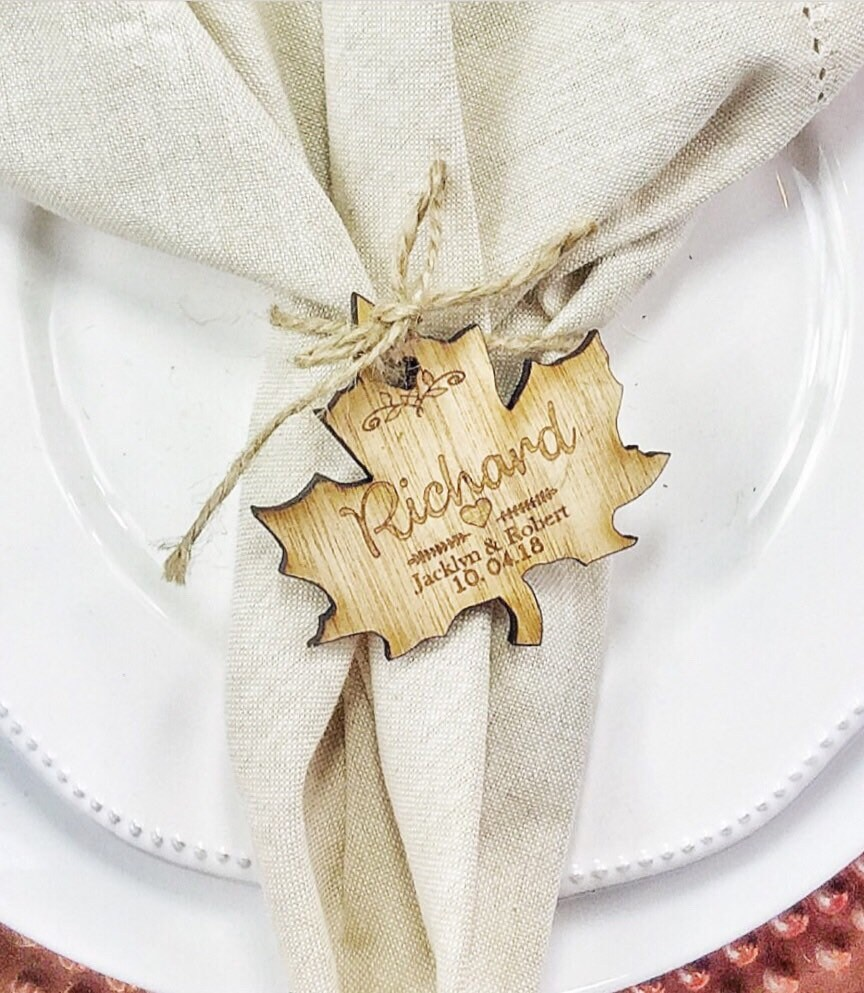 Place setting Autumn wedding Place cards Fall wedding place