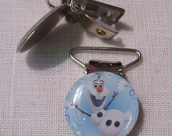 C21 - Strap clip, Alligator Clip, attach pacifier - Olaf SNOWMAN * 2.5 x 4 cm *.