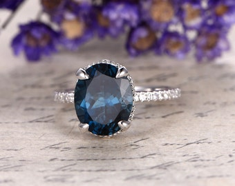 London blue Topaz engagement ring with diamond ,Solid 14k rose gold,promise ring,bridal,9x11mm  oval custom made fine jewelry,prong set