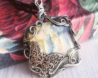 """Labradorite Butterfly Necklace, """"Butterfly Woods"""", Wire Wrapped Tree Pendant, Labradorite Jewelry, Gifts for Women, Gifts for Her"""