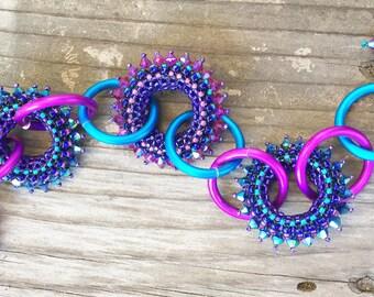 Blings & Rings Bracelet Fuchsia and Teal