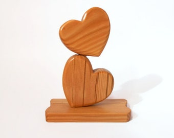Hearts decoration in larch wood-wooden furniture-gift idea