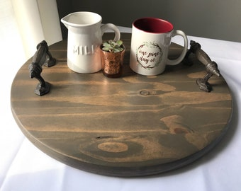 Solid Wood Round Serving Tray, Iron Handles, Wedding Gift,Housewarming Gift