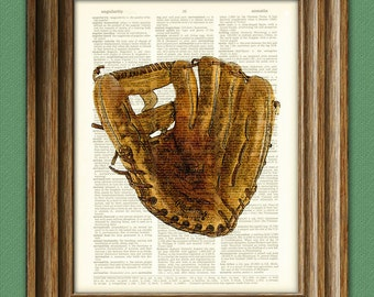 Vintage Baseball Glove Mitt print over an upcycled vintage dictionary page book art