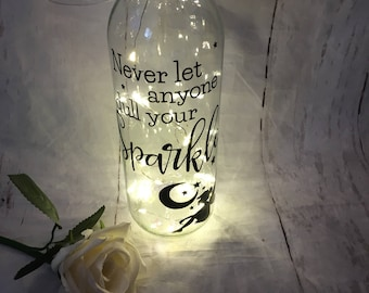 Never Let Anyone Dull Your Sparkle Light Up Wine Bottle
