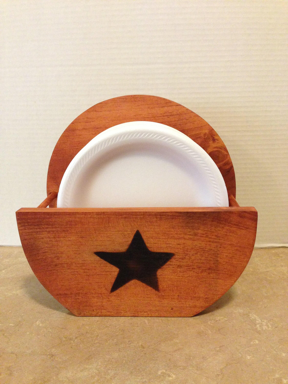 Paper Plate Holder Primitive Star Wooden Plate Holder Country Decor Farmhouse Decor Holder for plates Wood Paper Plate Holder & Paper Plate Holder Primitive Star Wooden Plate Holder Country ...