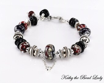 Lampwork Bracelet - Lampwork Red Black and Silvered Ivory Bali Silver Bead Bracelet - KTBL